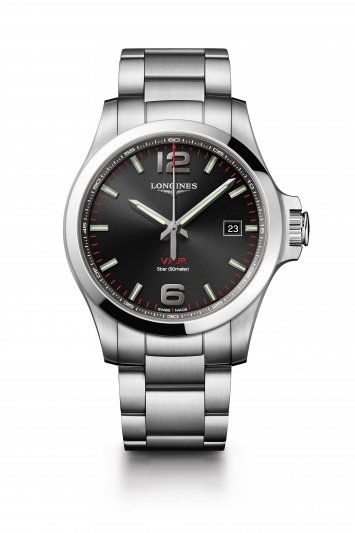 Longines 浪琴表征服者系列 V.H.P.大三針腕錶-黑面 (L3.726.4.56.6),建議售價 NT34,200
