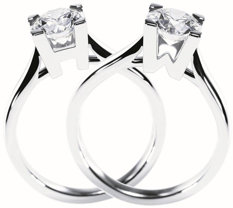 HW LOGO 極細微密釘鑲嵌訂婚鑽戒