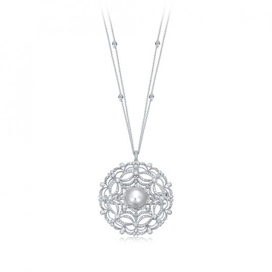 蕾絲花朵珍珠墜鍊胸針_18K白金鑽石總重3.715克拉南洋珠12mm _售價 NT$800,000元起(2)