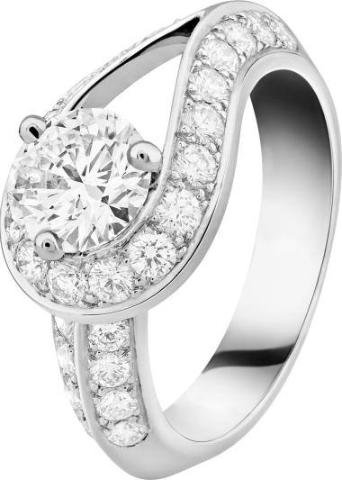 VCA Bridal - Couture solitaire, platinum, round diamonds, 1 round diamond