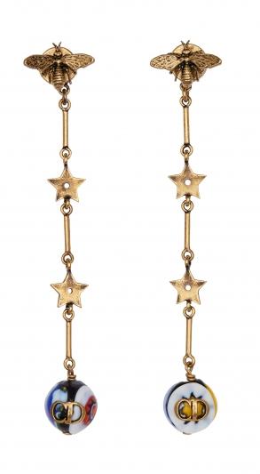 虹彩玻璃珠墜飾耳環,Dior,NT15,500。