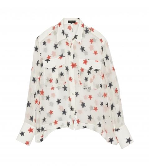 Rag & Bone,星星刺繡絲質長袖襯衫,NT16,500。