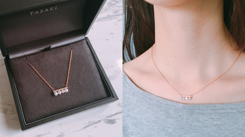 """(實戴) TASAKI """"petit"""" balance diamonds solo 鑽石珍珠項鍊"""