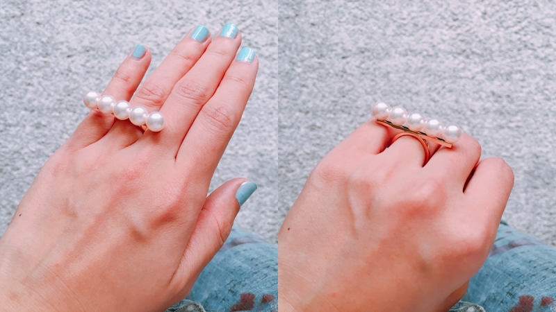 (實戴) TASAKI balance signature 珍珠櫻花金戒指