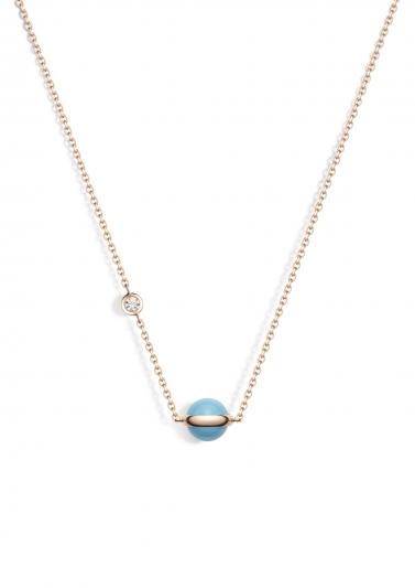Possession 系列項鍊 18K玫瑰金,鑲嵌單顆圓形美鑽(約0.06克拉)及綠松石圓珠 G33PB500台幣參考價格 55,000元