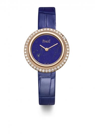 Possession 系列腕錶 29mm,18K玫瑰金錶殼,鑲嵌42顆圓形美鑽(約1.04克拉) 青金石錶盤 彩藍色鱷魚皮替換式錶帶,配有玫瑰金針扣式錶釦 附贈一條鱷魚皮錶帶 2018年2月起在伯爵專賣店獨家發售 G0A43086台幣參考價格 615,000元