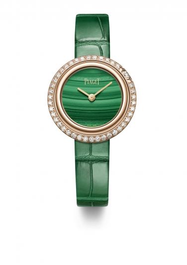 Possession 系列腕錶 29mm,18K玫瑰金錶殼,鑲嵌42顆圓形美鑽(約1.04克拉) 光玉髓錶盤 紅色鱷魚皮替換式錶帶,配有玫瑰金針扣式錶釦 附贈一條鱷魚皮錶帶 2018年2月起在伯爵專賣店獨家發售 G0A43088 台幣參考價格 535,000元