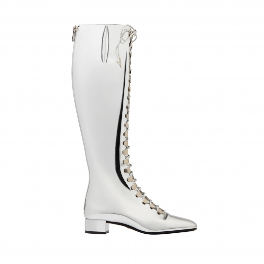 鏡面綁帶長靴,Dior
