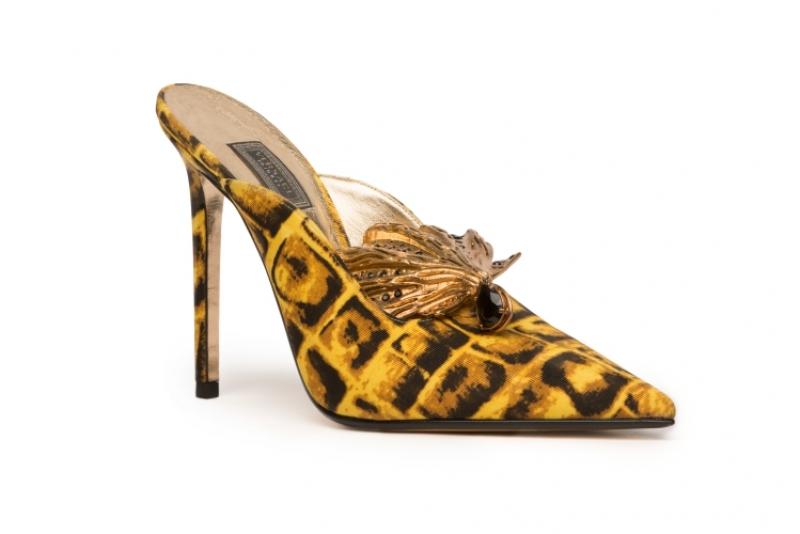 絲巾印花高跟拖鞋,Versace