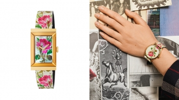 Gucci嶄新的花卉腕錶,其優雅的金框和古典的彩繪圖騰,無疑是復古女孩的最愛!