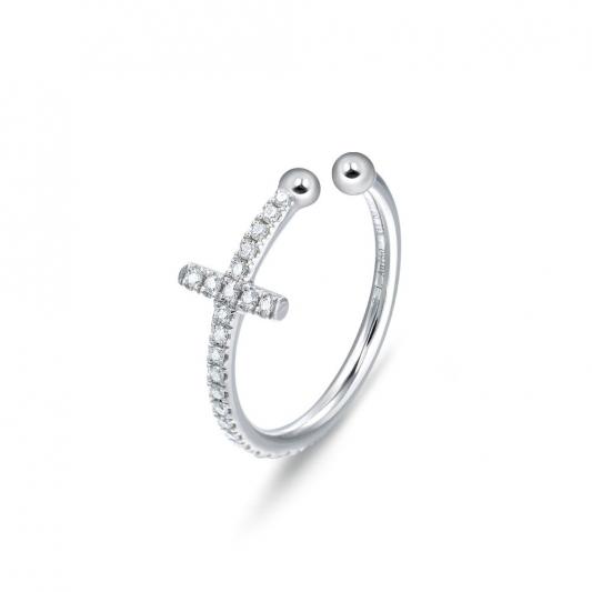 點睛品 Ear Play 18K白金鑽石十字耳環-NT$13,600