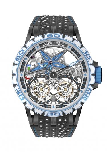 DBEX0643 鏤空雙飛行陀飛輪腕錶,價值新台幣9,900,000元。