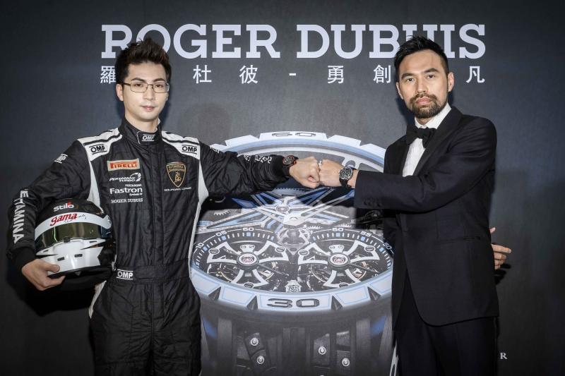 發表會特別邀請到華人首席賽車導演陳奕先(右)以及亞洲賽車新星陳意凡(左)擔任活動嘉賓,一同詮釋本次Excalibur Spider Pirelli限量腕錶系列無懼探索與勇於突破的勝利態度。
