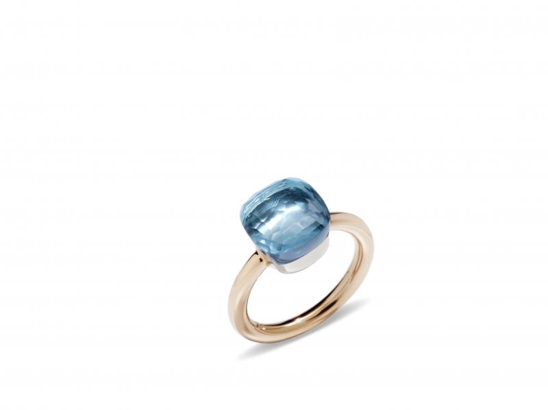 POMELLATO NUDO TRADITIONAL經典系列天藍拓帕石玫瑰金戒指_建議售價新台幣53,500元起。