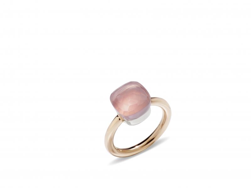 POMELLETO NUDO TRADITIONAL經典系列玫瑰石英玫瑰金戒指_建議售價新台幣53,500元起。