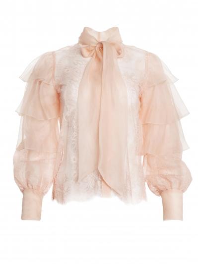 粉膚雪紡蕾絲襯衫,Alice + Olivia by Stacey Bendet,NT20,500。