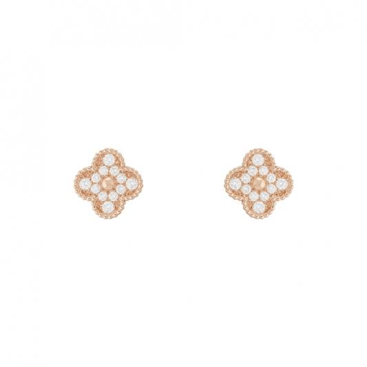 Vintage Alhambra 耳環 玫瑰金,圓形鑽石; DEF 、IF 至 VVS 級鑽石。 建議售價 : 約新台幣 376,000元