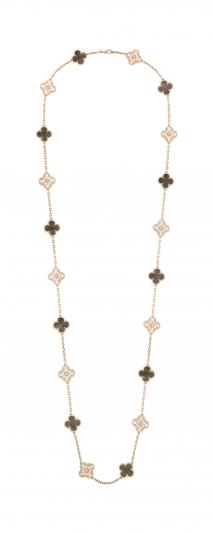Vintage Alhambra 長項 鍊 20枚墜飾,玫瑰金灰色珍珠 枚墜飾,玫瑰金灰色珍珠 母貝,圓形鑽石; DEF 、IF 至 VVS 級鑽石。 建議售價 : 約新台幣1,853,000 元