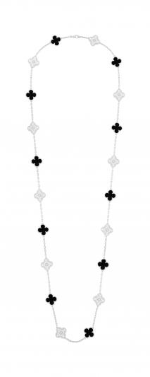 Vintage Alhambra 長項鍊 20 枚墜飾,白 K金,縞瑪瑙圓形鑽石; 金,縞瑪瑙圓形鑽石; DEF 、IF 至 VVS 級鑽石。 建議售價 : 約新台幣 1,950,000 元