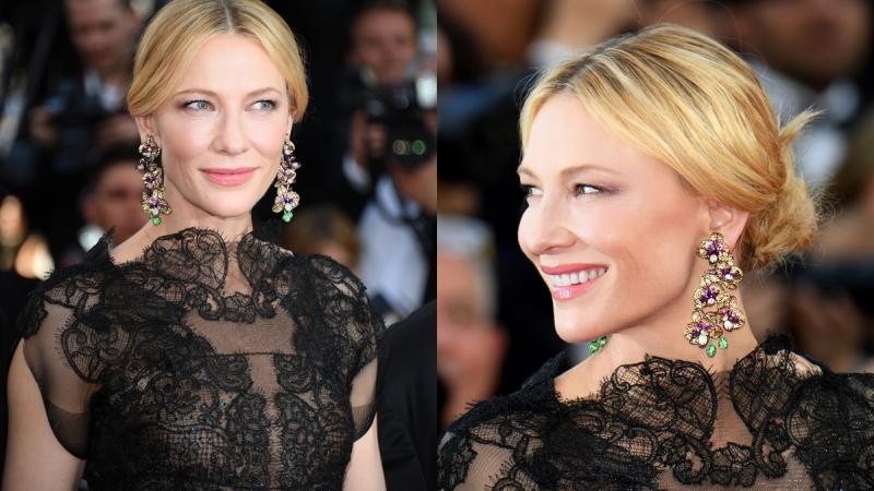 2018.05.08 向來與坎城影展有著密不可分的友好關係,CHOPARD蕭邦總是最受參與坎城女星們的青睞,在5月8日的開幕典禮紅毯,包括Cate Blanchett 凱特布蘭琪Julianne Moore 茱莉安摩爾等人都以大且顯眼的吊燈式耳環為焦點。