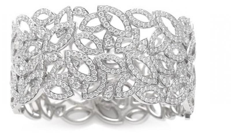 Lily Cluster系列鑽石鉑金手鐲