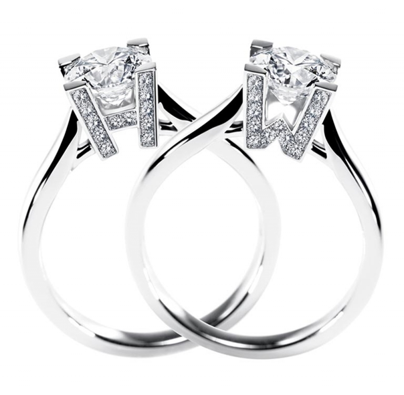 海瑞溫斯頓HW LOGO鑽石婚戒極細微密釘鑲嵌底座