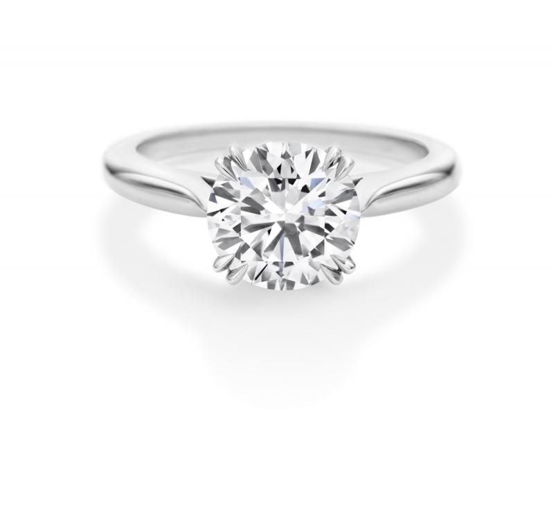 海瑞溫斯頓圓形明亮式切工單鑽戒指