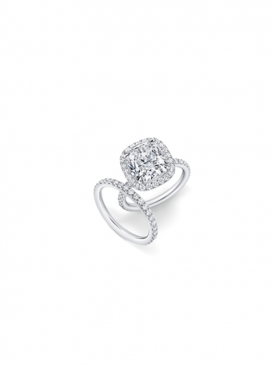 海瑞溫斯頓The One系列枕型切工鑽石戒指與鑽石線戒