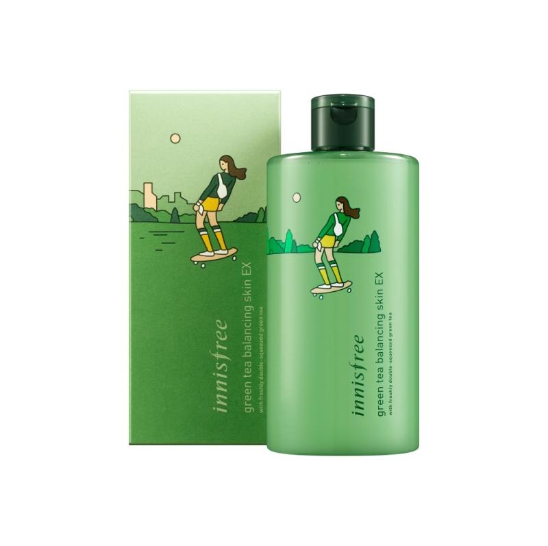 innisfree 2018年環保手帕限定版-綠茶水平衡調理液(滑板手)400ml,NT860