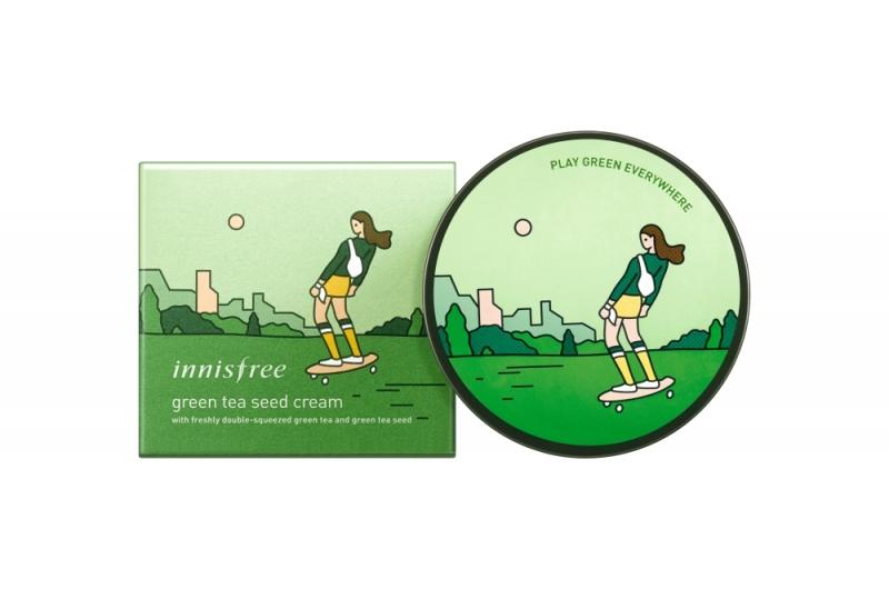 innisfree 2018年環保手帕限定版-綠茶籽保濕霜(滑板手)100ml,NT 1,190