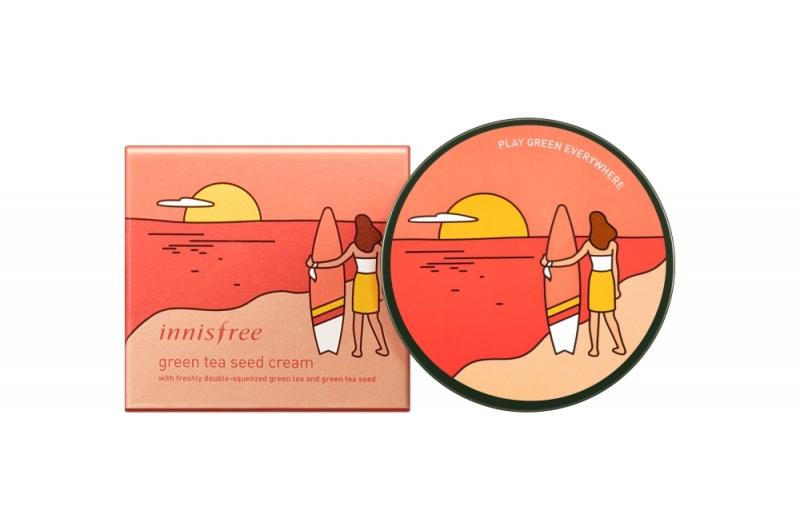 innisfree 2018年環保手帕限定版-綠茶籽保濕霜(衝浪者)100ml,NT 1,190