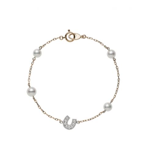 MIKIMOTO Lucky Motif Collection-Horseshoe日本Akoya珍珠18K粉紅金鑽石手鍊 建議售價:NT$32,000