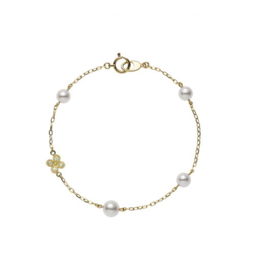 MIKIMOTO Lucky Motif Collection-Fortune Leaves日本Akoya珍珠18K黃金鑽石手鍊 建議售價:NT$27,000