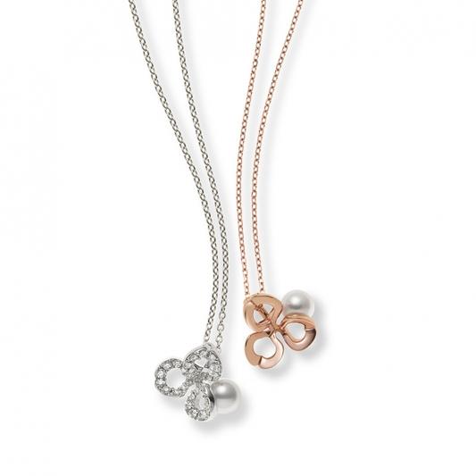 MIKIMOTO Fortune Leaves Collection 日本Akoya珍珠鑽石鏤空墜鍊 建議售價:NT$81,000(18K白金款) / 35,000(18K粉紅金款)