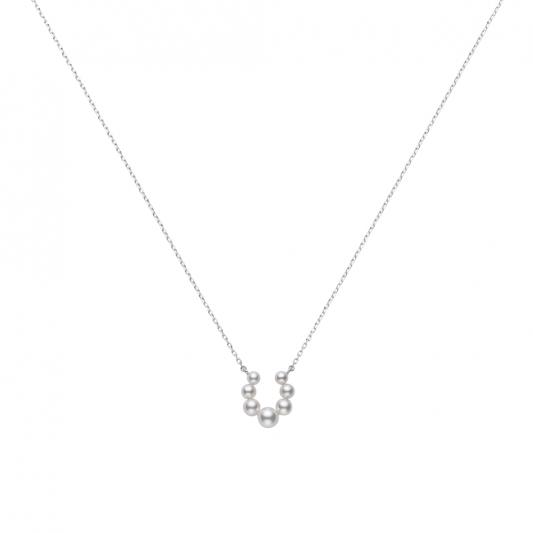 MIKIMOTO 日本Akoya珍珠馬蹄鐵造型墜鍊(搭配18K白金鍊) 建議售價:NT$33,000