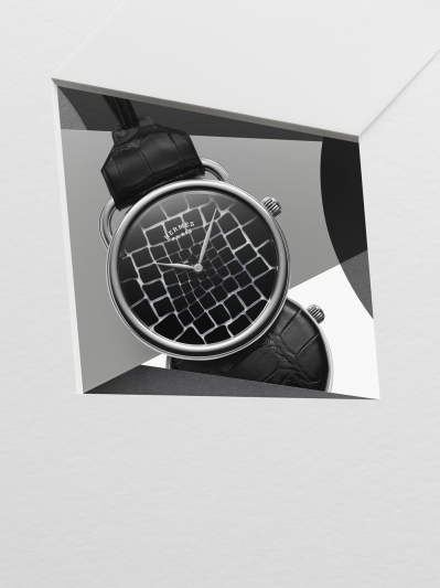 Hermès 鱷魚鱗紋圖騰的Arceau Pocket Millefiori 懷錶