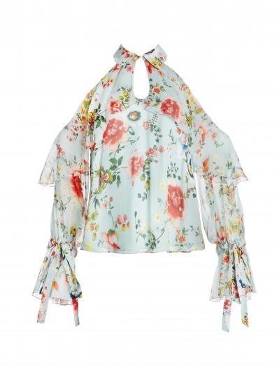 削肩印花雪紡衫,Alice + Olivia,NT14,500。