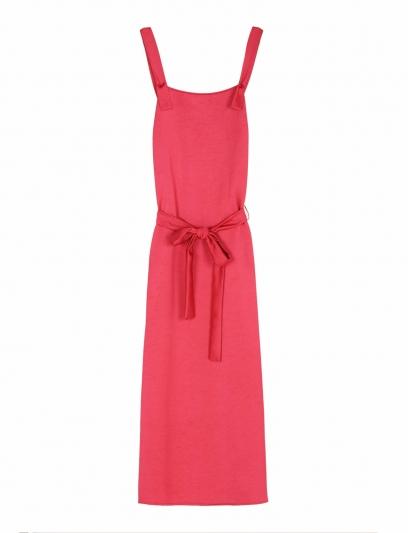 桃紅色腰間綁帶長洋裝,Armani Exchang,NT7,290。