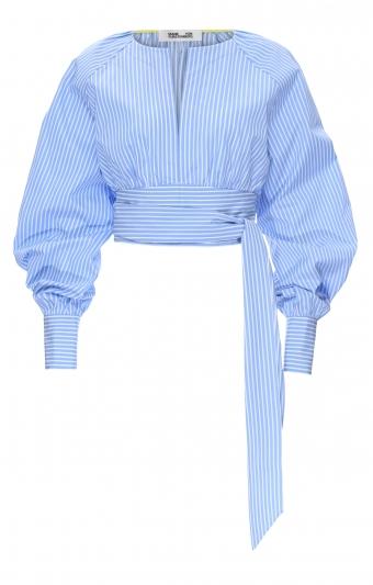 藍白條紋綁帶上衣,Diane Von Furstenberg。