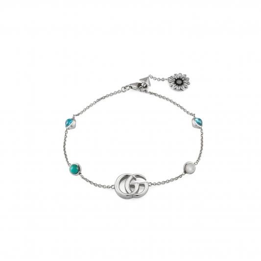 2018 GG Marmont系列銀飾_純銀花朵與G字手鍊,搭配珍珠&拓帕石&土耳其藍色樹脂,NT14,300。