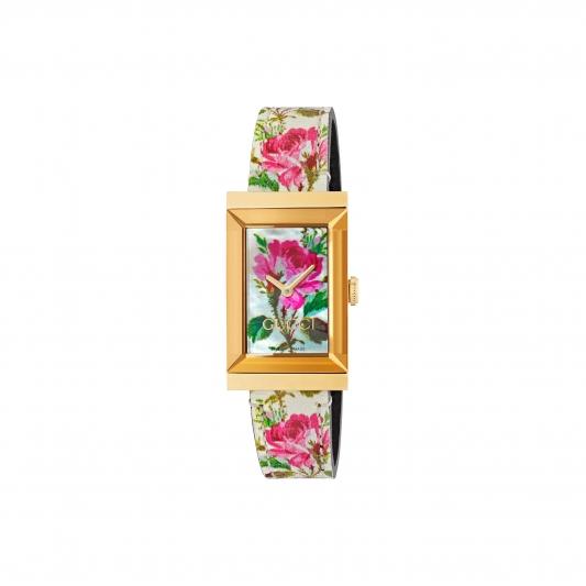 2018 G-Frame系列_21*34mm 金黃色PVD錶殼,白色珍珠母貝彩繪花卉錶面及皮革錶帶,NT38,000。