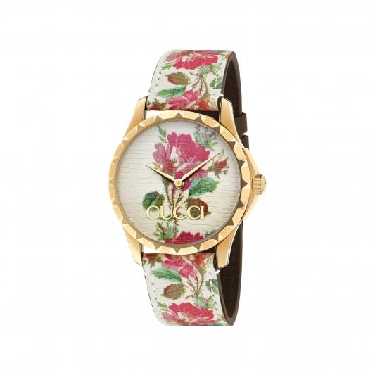 2018 G Timeless系列_中碼38mm,金黃色PVD錶殼,白色彩繪花卉皮革錶面及錶帶,NT35,000。