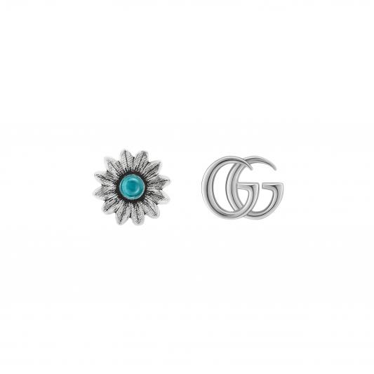 2018 GG Marmont系列銀飾_純銀拓帕石花朵與G字耳環,NT10,300。