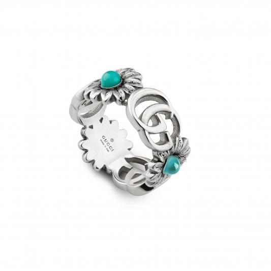 2018 GG Marmont系列銀飾_純銀花朵與G字戒指,搭配珍珠&拓帕石&土耳其藍色樹脂,NT13,000。