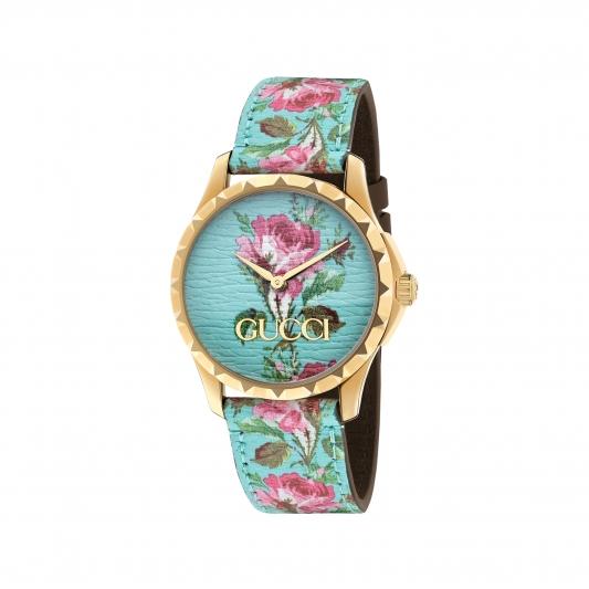 2018 G Timeless系列_中碼38mm,金黃色PVD錶殼,水藍色彩繪花卉皮革錶面及錶帶,NT35,000。