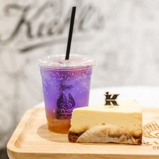 KIEHL'S COFFEE HOUSE蝶豆花柚子氣泡飲+紐約起士蛋糕