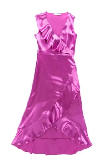 荷葉滾邊絲綢洋裝,Maje。