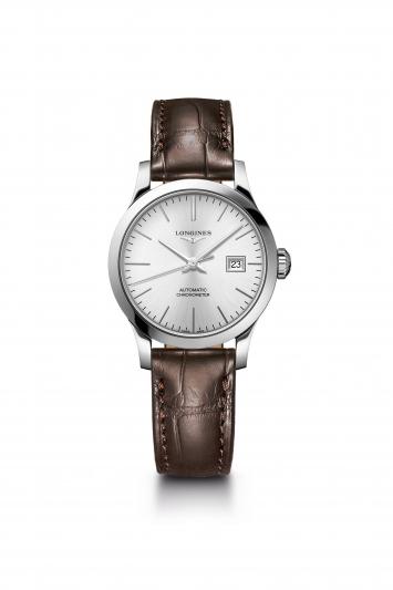 Longines 浪琴表Record系列棕色鱷魚皮錶帶女士腕錶 (L2.321.4.72.2),建議售價NT$63,600