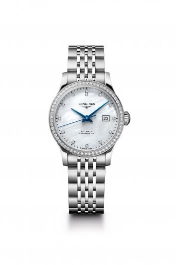 Longines 浪琴表Record系列鑲鑽不銹鋼鍊帶女士腕錶 (L2.321.0.87.6),建議售價NT$147,300