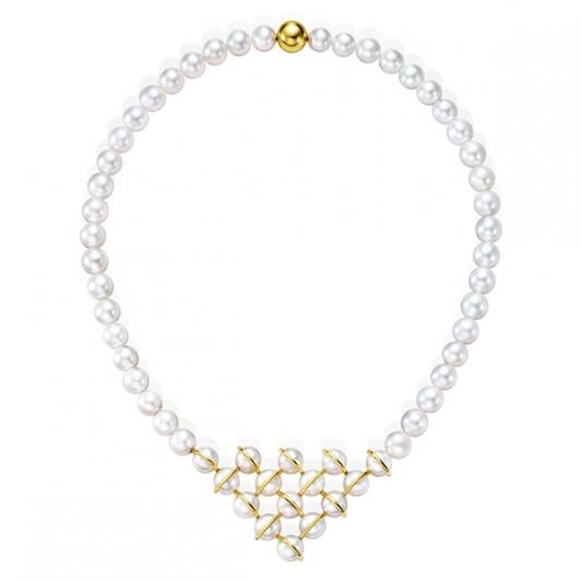 M/G TASAKI WOVEN 珍珠黃K金項鍊,18K黃金、淡水珍珠,NT806,000。